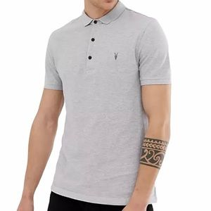 All Saints Reform Polo with Ramskull in Grey Marl